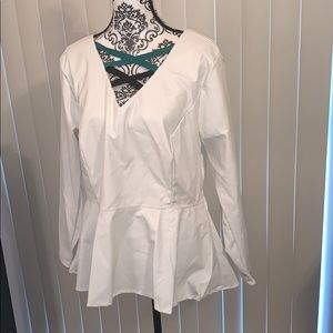 White Leather Blouse with Back Zipper
